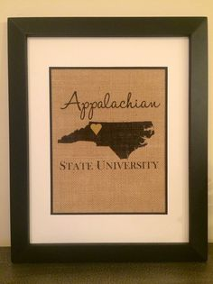 Appalachian State University Burlap Print. by theCuriousChalkboard
