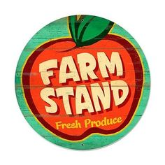 """FARM STAND Fresh Produce   HUGE  28"""" round  vintage looking metal sign"""