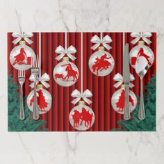 Western Holiday Rodeo Ornaments On Red Placemat - Xmas ChristmasEve Christmas Eve Christmas merry xmas family kids gifts holidays Santa