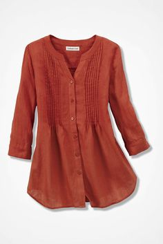 Coldwater Creek Tucked Linen Tunic - rich coral