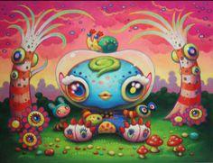Yoko D'Holbachie psychedelic kawaii art Psy Art, Surrealism Painting, Lowbrow Art, Kawaii Art, Cute Characters, Surreal Art, Dark Art, Traditional Art, Unique Art