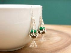 Hanging Planter Macrame Earrings - miniature succulent planter, wearable small cactus, sterling silver, miniature terrarium plant