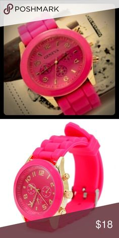 Women/Girls Geneva Silicone Jelly Sports Watch. Women/Girls Geneva Silicone Jelly Sports Quartz Wrist Watch.                                                            Movement: Quartz : Battery Display: Analog Style: Fashion Features: Easy To Read Watchband Material: Silicon Color: Rose Red Shape of the dial: Round Geneva Accessories Watches
