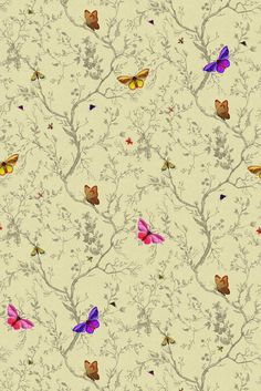 "I can't even say how much I love this pattern. It has so much beauty and tension. The multi-colored butterflies resting on the tonal background seem to fly off the wall. Available in 12 wonderful colors. Each roll is 20.5"" wide and 11 yards long. Pattern repeats every 55 inches vertically. Coverage 
