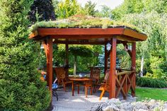 outdoor gazebo pavilion with living green roof