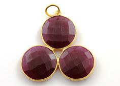 Natural Dyed Ruby Fancy Pendant  1.3'' Long Bezel by Beadspoint, $14.99