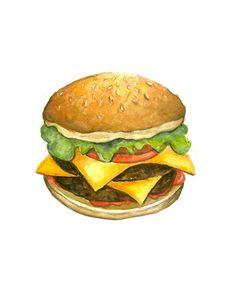 Imprimir acuarela Burger por WildCanaryStudio en Etsy