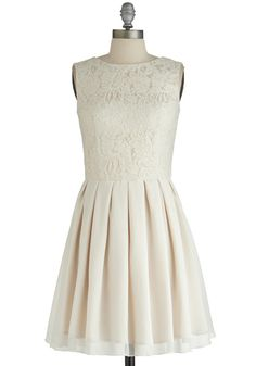 All Over Elegance Dress - Cream, Solid, Lace, Pleats, Sequins, Special Occasion, Wedding, Bride, A-line, Sleeveless, Better, Chiffon, Woven,...