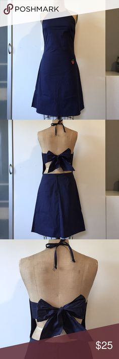 """Delia*s Navy Stretch Cotton Halter Dress Like new navy stretch cotton halter dress with open back tie and cherry appliqué pocket. Ties at neck and back with back zip. Stretchy, opaque and very comfy. 36"""" from center neckline to hem. Fits like 6-8. Delia's Dresses"""