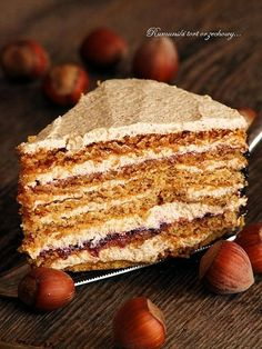 Romanian cake with hazelnuts. Roman cake with hazelnuts and blackberry jam (in Polish) Oreo, Romanian Desserts, European Dishes, First Communion Cakes, Torte Cake, Polish Recipes, Something Sweet, Dessert Recipes, Food And Drink