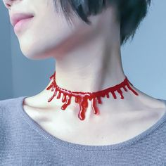Halloween Decoration Horror Blood Drip Necklace Fake Blood Vampire Fancy  Joker Choker Costume Red Necklaces Party cdb772e4a119d