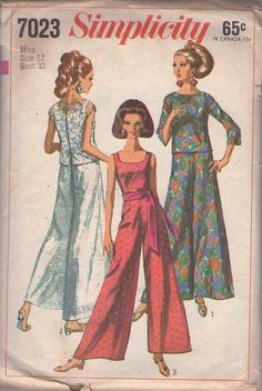 MOMSPatterns Vintage Sewing Patterns - Simplicity 7023 Vintage 60's Sewing Pattern HOT & GLAM Mod Hostess MUST HAVE Palazzo Pants Jumpsuit, Sheer Lace Overblouse, Cover Up Top Size 12