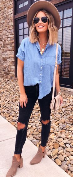 #summer #outfits blue denim button-up shirt.