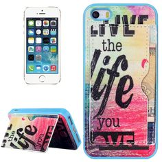 [$1.81] Words and Ocean Pattern Protective Case with Holder and Card Slots for iPhone 5 & 5S