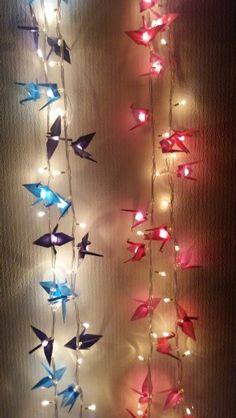 #guirnalda #luces #grullas #tsuru #origami by @KokoroKaraDesig @AndreOyadomari