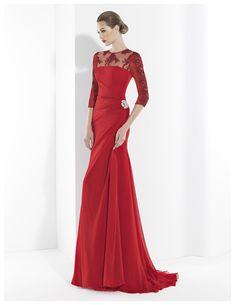 Vestido de fiesta largo de gasa roja con escote a la caja. | Franc Sarabia Colección 2014
