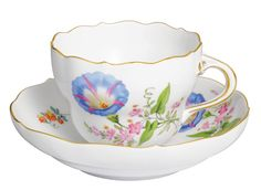 "Coffee c & s, Shape ""Neuer Ausschnitt"", Vintage Flowerpainting 2, Bandwinde, gold rim, V 0,20 l"