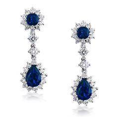CZ Crown Sapphire Color Chandelier Earrings  #Fashion, #Jewelry, #JewelryEarrings, #OverstockJeweler