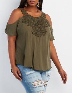 77f284431e0b92 Plus Size Crochet Front Cold Shoulder Top Plus Fashion