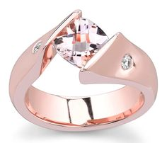 14K White Gold ( Rose Gold ) Tension Setting With 2 Side Diamonds Item # 13049R2     This is a vibrant rose gold tension ring has a stunning morganite center stone paired with two side diamonds. This delightful ring is is a must have. This design also comes in white gold.     http://www.novori.com/diamond-tension-rings-13049R2-p.html#
