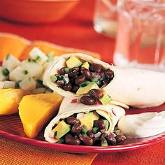 Black Bean and Poblano Tortilla Wraps:  These quick and easy wraps make a light lunch or a hearty snack. The black beans supply 5 grams of fiber and 9 grams of protein per serving, while the avocados are rich in heart-healthy monounsaturated fat and vitamin E. Bulk up the wraps a bit with a serving of brown rice.  | Health.com