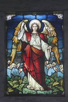 Stained glass angel.  West Laurel Hill cemetery