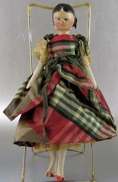 "Peg Wooden Doll w Curls Antique Vintage 9"" Grodnertal Silk Dress"