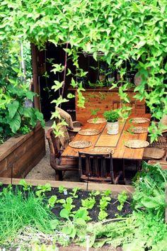 Raised garden as outdoor room wall.