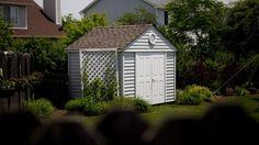 Backyard With Prefab Storage Shed And Trellis Outdoor Prefab Storage Sheds