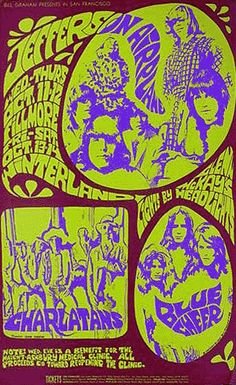 Jefferson Airplane, The Charlatans and Blue Cheer In San Francisco 🎶classic rock music concert poster psychedelic Gig Poster, Poster Prints, Psychedelic Rock, Psychedelic Posters, Rock Posters, Band Posters, Movie Posters, Vintage Concert Posters, Vintage Posters