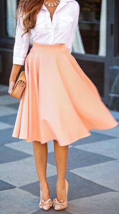 Peach Pink High waisted skirt