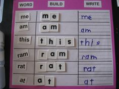 This is just like one of the exercises in the Explode the Code series of workbooks. While unfortunately, the site the blogger got her idea from is gone, this is an easy enough idea to reproduce on your own. Great for reviewing spelling words.