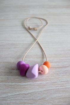 Polymer Clay Bead Necklace Pastel Peach by MaggieAndMeCreative, $34.00