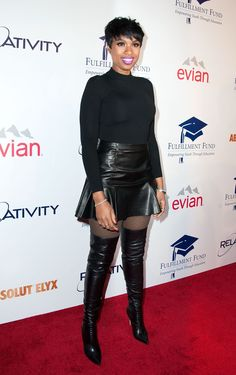 Kicking it up a notch, Jennifer looks great in this flared leather skirt (killer leather boots) and a short turtleneck. via @stylelist | http://aol.it/1z4s5JG #highheelbootsskirt