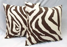 Decorative Throw Pillow Covers Pair of Two 20 x 20 Brown Chocolate Natural Zebra Throw Pillow Cushion Covers Animal Print Pillows