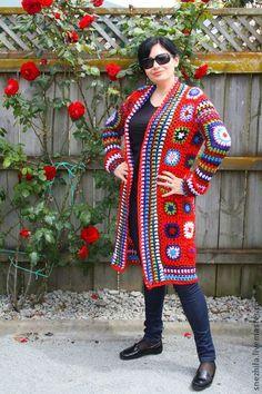 кардиган - ярко-красный,орнамент,Бабушкин квадрат,русский стиль,пальто женское