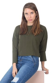 Simply Love 'Crop Top' Soft 3/4 Sleeve Mock Turtleneck T-Shirt Stretch Top Stripes Boxy Fit Top Blouse Women's at Amazon Women's Clothing store: