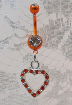 Belly ring, belly button ring with sun orange crystal heart 14ga | YOUniqueDZigns - Jewelry on ArtFire