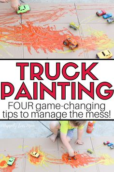 Truck Painting: Fun Art Activity for Toddlers - Happily Ever Mom Art Games For Kids, Art Activities For Toddlers, Preschool Learning Activities, Summer Activities For Kids, Fun Activities, Learning Games, Activity Ideas, Craft Ideas, Writing Prompts For Kids