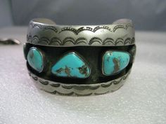 Vintage Southwestern Cuff Bracelet, Turquoise with Stamped Accents, Chunky #Unbranded