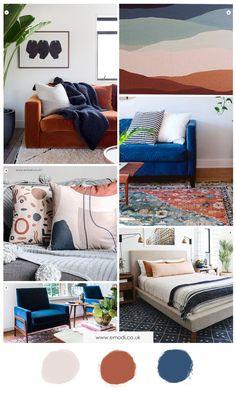 Blue Orange Rooms, Burnt Orange Living Room Decor, Burnt Orange Bedroom, Brown Home Decor, Blue Bedroom Decor, Orange Home Decor, Burnt Orange Decor, Tan Bedroom, Bedroom Colour Palette