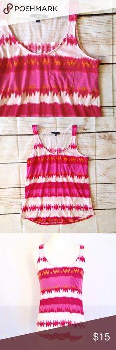 """BOGO 🌟 HURLEY Pink Tribal Striped Tank Adorable bright pink, sherbet orange and white tribal inspired striped loose fit tank. White open knit accent in back; left breast pocket. By Hurley. Size S. Cotton/polyester blend. Chest measures 32-38"""". Length 23"""".  Good pre-owned condition with no holes, rips, or stains.  KWs: pacsun, summer, Navajo, brush stroke, Zumiez, flowy, indie, beach, printed, tumblr, blogger, preppy Hurley Tops Tank Tops"""