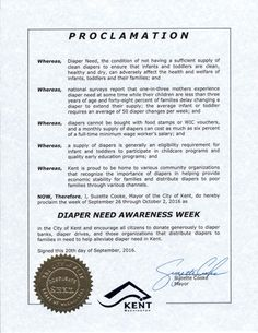 KENT, WA-Mayoral proclamation recognizing Diaper Need Awareness Week (Sep. 26-Oct. 2, 2016) #DiaperNeed Diaperneed.org