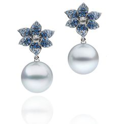 Orchid Collection | Autore Pearls - AUTORE Earrings in White Gold with Blue Sapphires, White Diamonds, South Sea Pearls