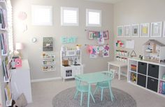 Readers Favorite: Pretty in Pastels Playroom This pretty pastel playroom has us wishing our babies would grow up! The post Readers Favorite: Pretty in Pastels Playroom appeared first on Toddlers Ideas. Loft Playroom, Toddler Playroom, Playroom Design, Playroom Organization, Playroom Decor, Playroom Ideas, Wall Decor, Organizing Kids Toys, Playroom Paint Colors