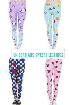 Unicorn And Sweets Leggings #unicorns #leggings #emoji #unicornio