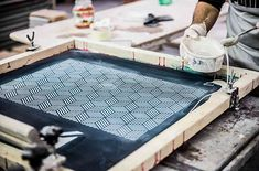 inside glazing process of a lava stone XXL tile, this is a pattern techniques with the silk-screen  #glazedtiles #homedecor