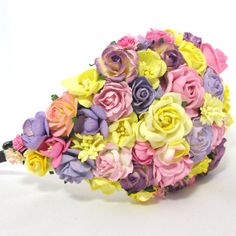 Pink lavender and yellow Floral Bridal Hat Wedding by cloudcake