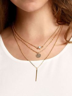 Rhinestone Pailette Metal Bar Pendant Wrap Link Necklace
