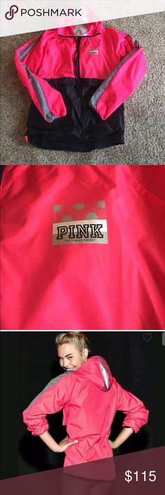 Vs PINK Anorak half zip fleece pullover Brand new never worn. Pink , gray and black. Front pocket. Fleece lining. Not sure I even want to part with it. Price firm, no trades. Thanks:) PINK Victoria's Secret Jackets & Coats